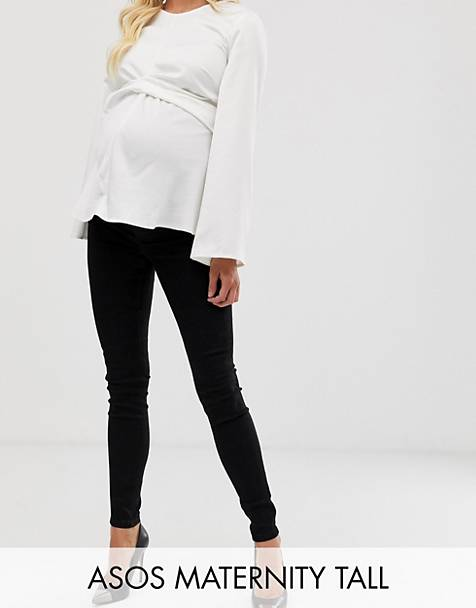ASOS DESIGN Maternity Tall Ridley high waisted skinny jeans in clean black with over the bump waistband