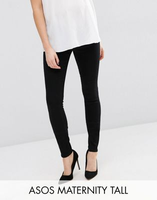ASOS DESIGN Maternity Tall Ridley skinny jeans in clean black with under the bump waistband