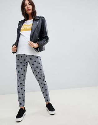 ASOS DESIGN Maternity tapered peg pants in check print with spot