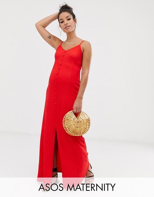 ASOS DESIGN Maternity textured button through cami maxi dress
