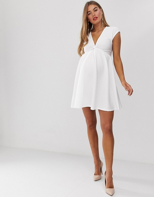 Asos Design Maternity Textured Twist Skater Mini Dress by Asos Design