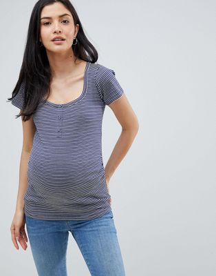 ASOS DESIGN Maternity top in stripe with button placket