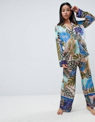 ASOS DESIGN Maternity Tropical Border Print Satin Pj Set