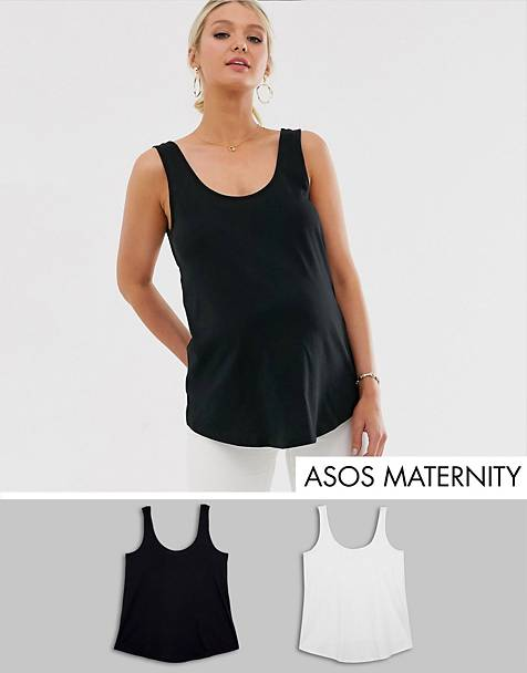 ASOS DESIGN Maternity ultimate organic cotton vest 2 pack SAVE