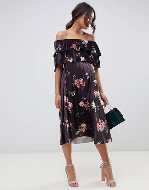 ASOS DESIGN Maternity Velvet Double ruffle pleat midi dress in floral print