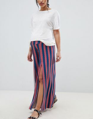 ASOS DESIGN Maternity wide leg trousers with split front in aztec stripe print