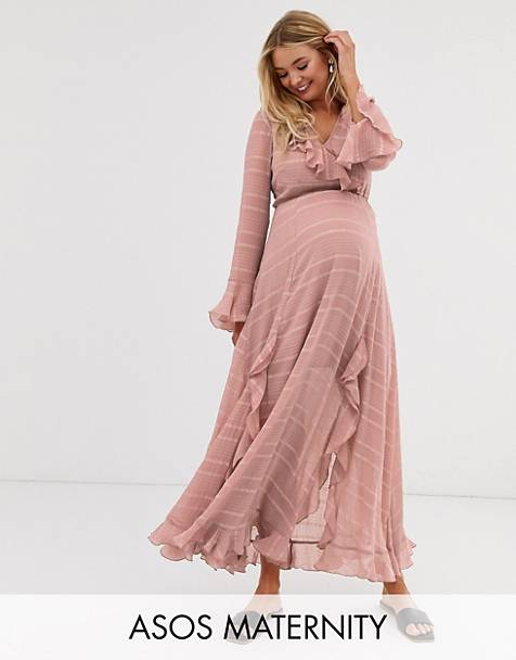 54fdba8e3f0 ASOS DESIGN Maternity wrap maxi dress with frills in self stripe