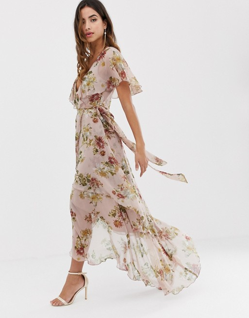 65b8450a265 ASOS DESIGN maxi dress with cape back and dipped hem in light floral print