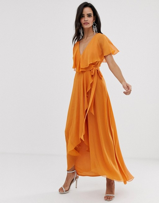 59df118f7fd ASOS DESIGN maxi dress with cape back and dipped hem