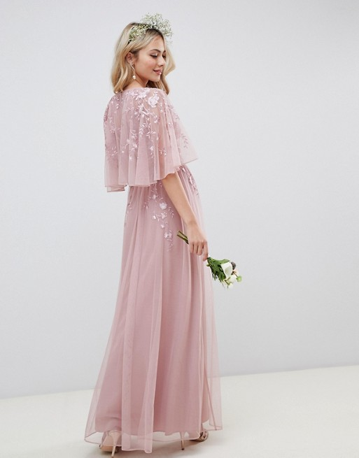 d4a1520b344 ASOS DESIGN maxi dress with cape sleeve in embroidered mesh