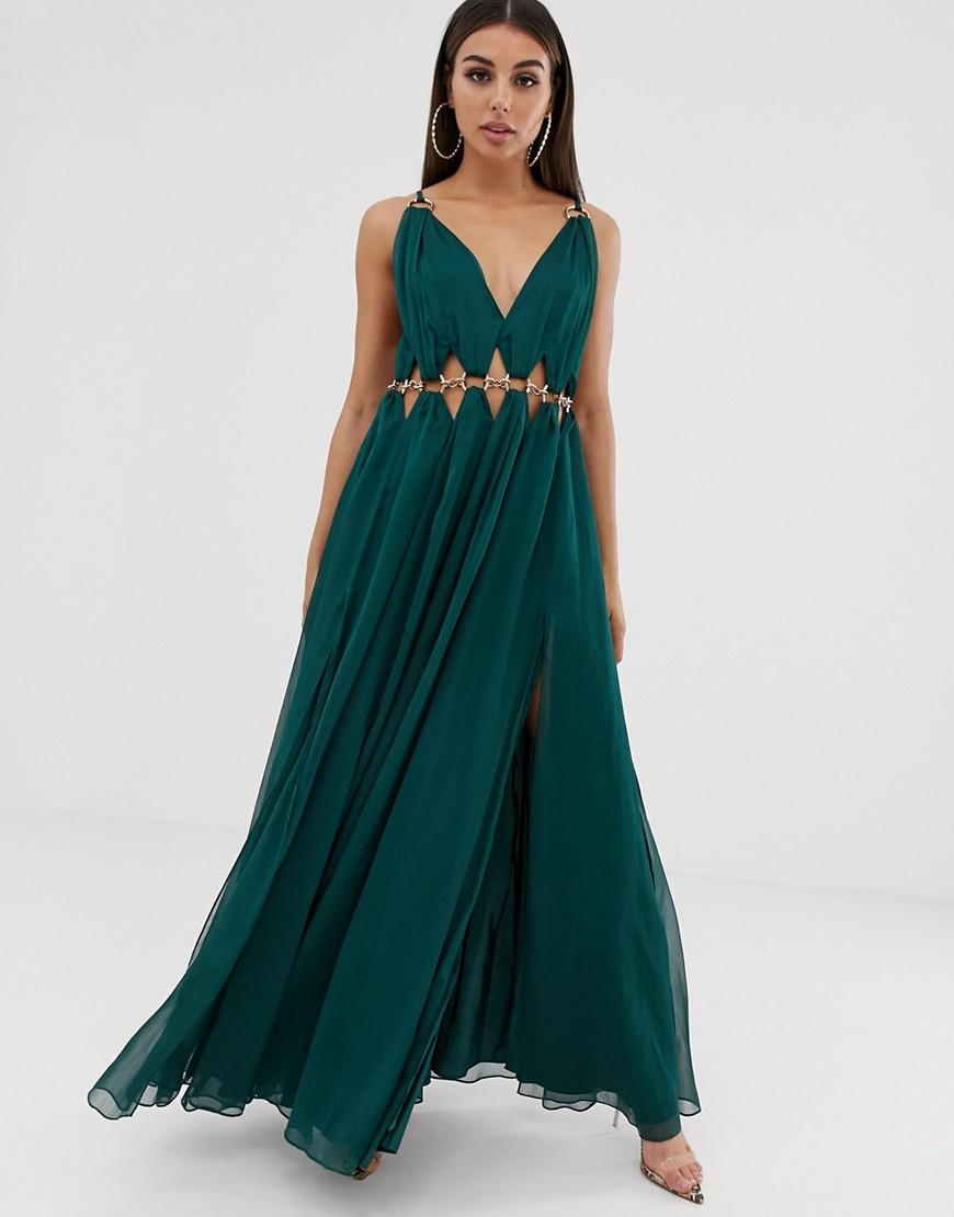 Asos Design Maxi Dress With Metal Circle Waist Trim by Asos Design