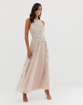 ASOS DESIGN maxi dress with pinny bodice in embroidered dobby