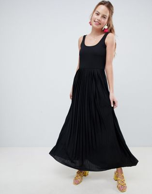 ASOS DESIGN maxi dress with pleated skirt