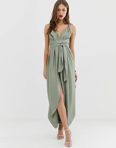 ASOS DESIGN maxi dress with wrap waist with horn detail in satin