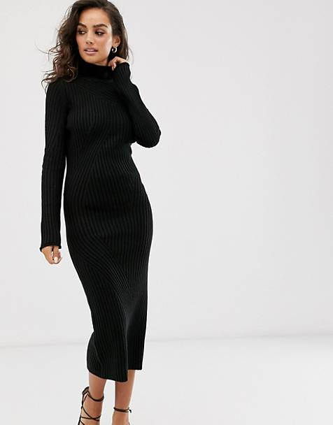 ASOS DESIGN maxi knitted dress in moving rib