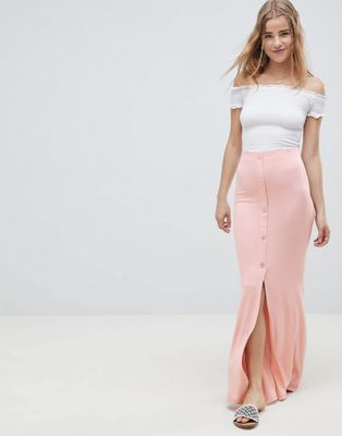 ASOS DESIGN maxi skirt with button front and split detail