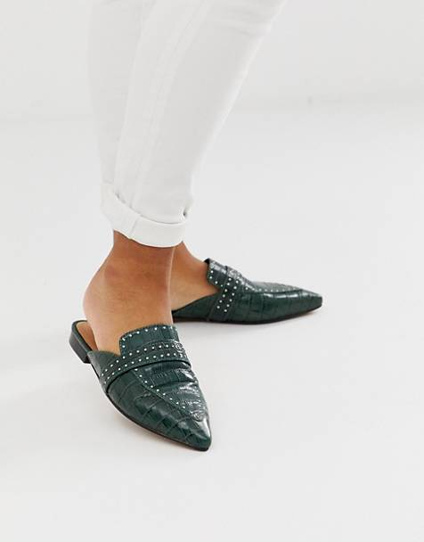 ASOS DESIGN Maximum studded leather pointed mule in green croc