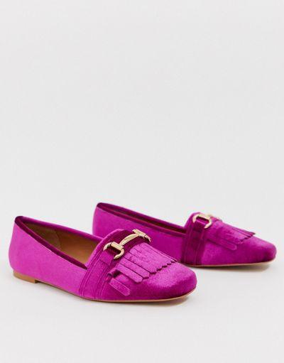 ASOS DESIGN Medallion snaffle loafer flat shoes in magenta