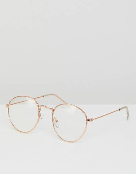 ASOS DESIGN metal round glasses with clear lens in gold