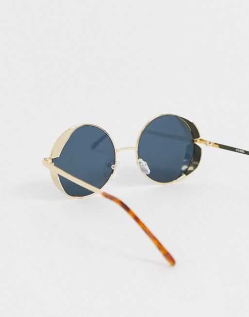 0b0bae4b884d ASOS DESIGN. ASOS DESIGN METAL ROUND SUNGLASSES IN GOLD WITH SMOKE LENS ...