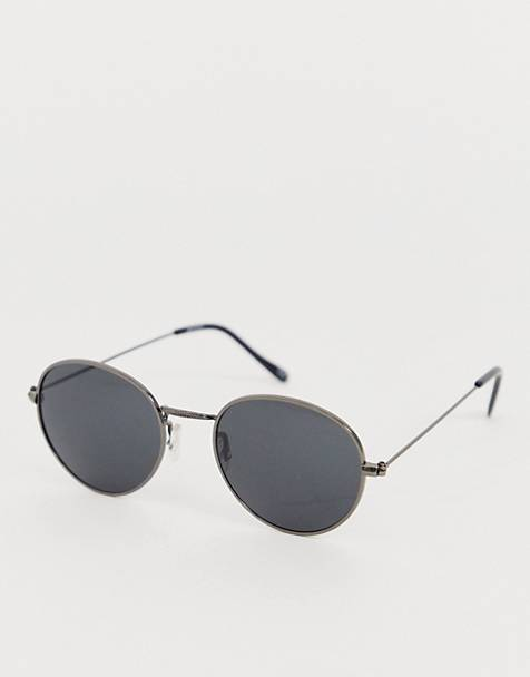 ASOS DESIGN metal round sunglasses in gunmetal