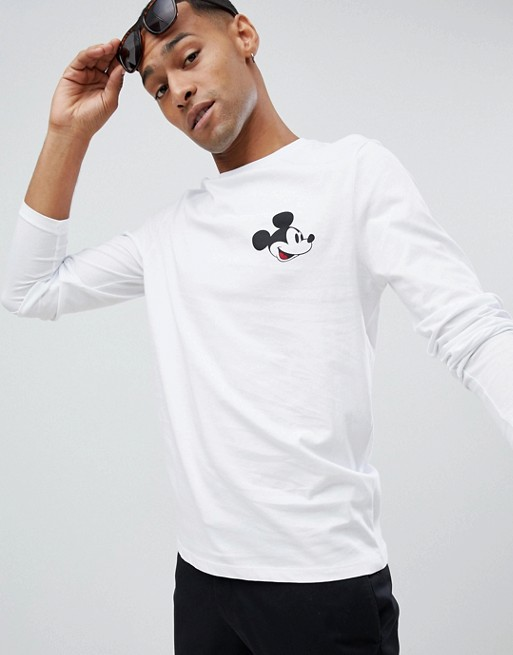ASOS DESIGN Mickey long sleeve t-shirt with chest print