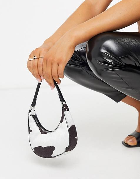 ASOS DESIGN micro 90s bag in cow print