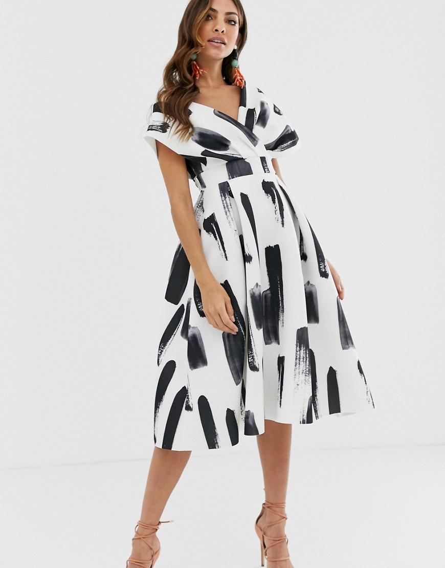 ASOS DESIGN – Midi-Ballkleid mit abfallender Schulterpartie, Schnürung und Pinselstrichmuster-Mehrfarbig | Bekleidung > Kleider > Abendkleider | ASOS DESIGN