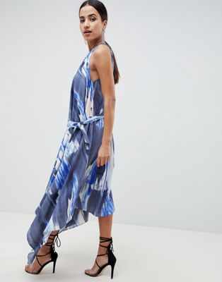 ASOS DESIGN Midi Dress In Abstract Print With Tab Side