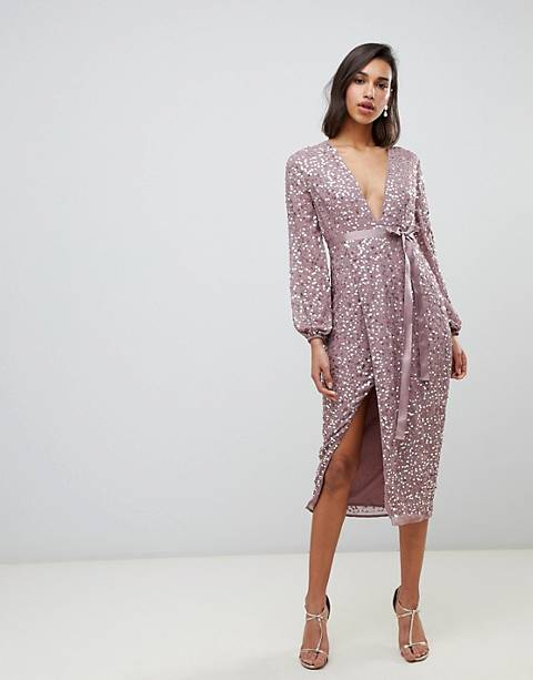 ASOS DESIGN midi dress in allover scatter sequin with ribbon tie waist