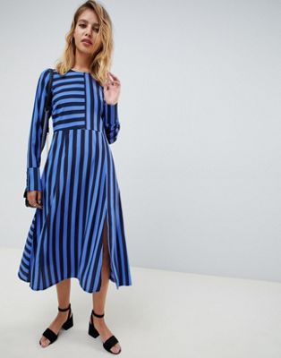 ASOS DESIGN midi dress in cut about stripe