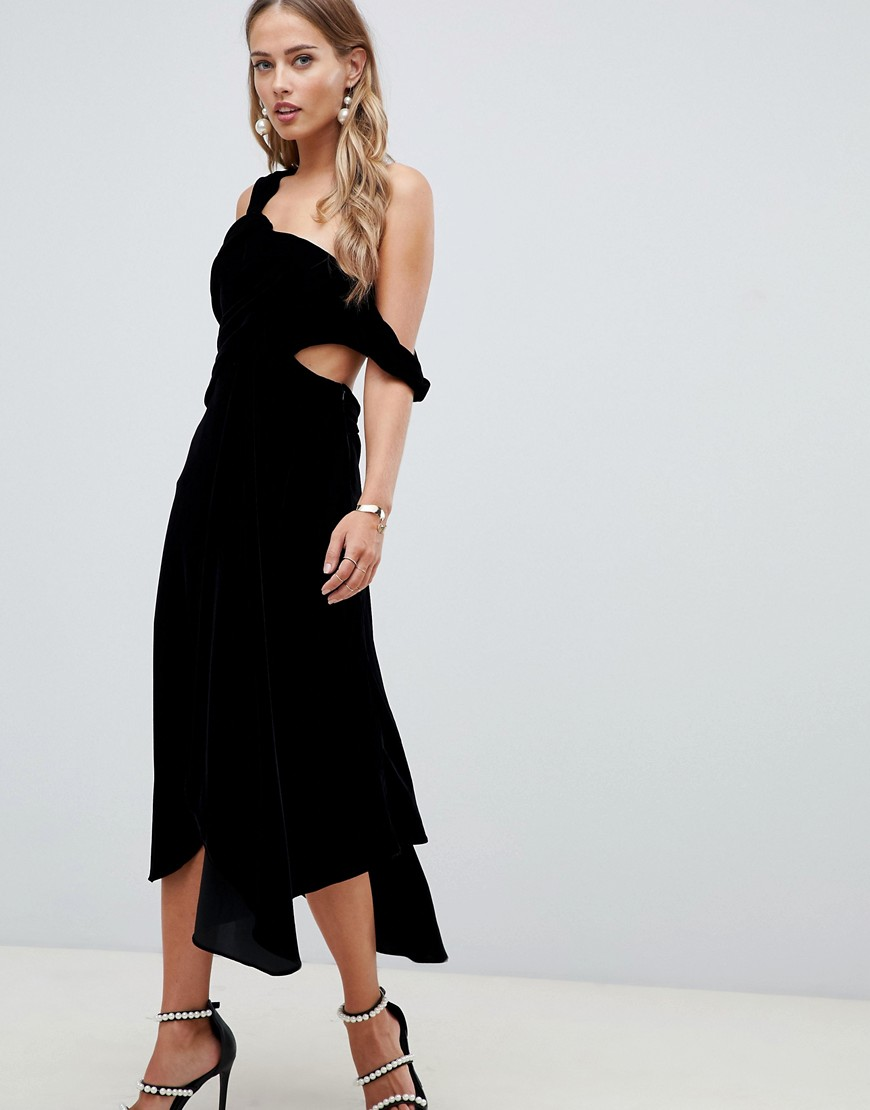 asos design midi dress in drape velvet-black