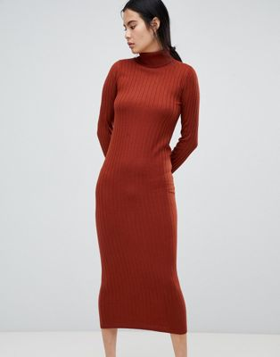 ASOS DESIGN midi dress with high neck in rib