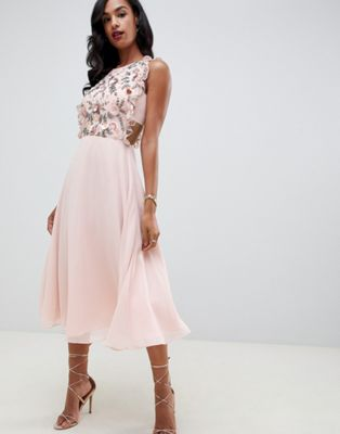 Image 1 of ASOS DESIGN midi dress with pinny bodice in 3D floral embellishment