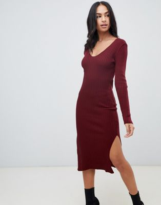 ASOS DESIGN midi dress with v-neck in rib knit