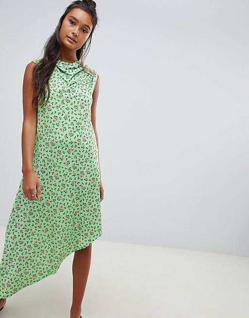 ASOS DESIGN - Midi-jurk met fijne print en knoopdetail