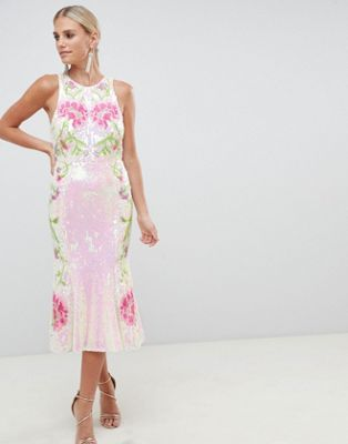 ASOS DESIGN - Midi-jurk met iriserende pailletten en fishtail