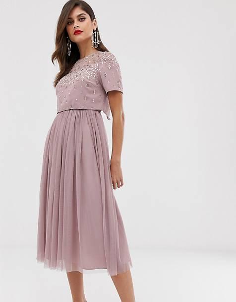 8c9a3822d648cc ASOS DESIGN - Midi-jurk met versierde crop top en mesh rok