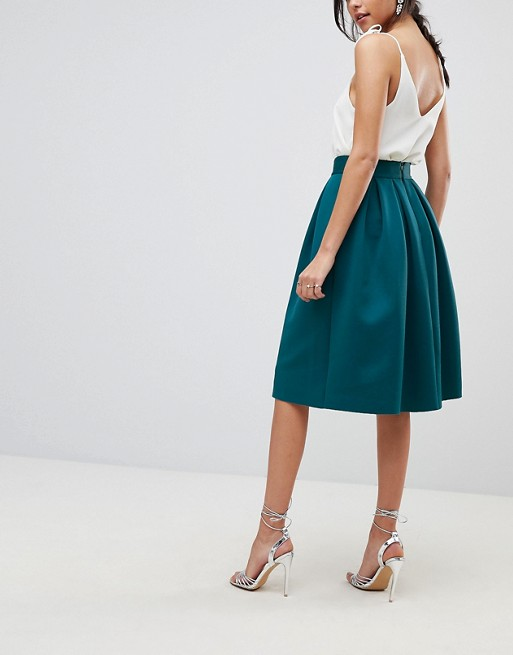 favorable price up-to-datestyling pretty nice ASOS DESIGN midi prom skirt in scuba