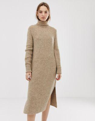 ASOS DESIGN – Midi-Pulloverkleid mit Seitenschlitzen
