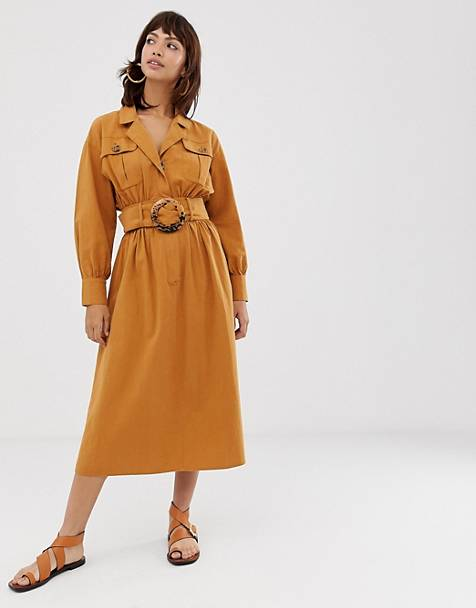 bce33c0c441 ASOS DESIGN midi shirt dress in texture with tortoiseshell buckle