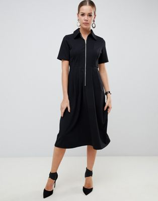 ASOS DESIGN midi shirt dress with exposed zip