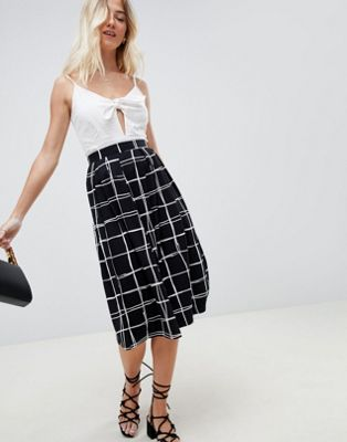 ASOS DESIGN midi skirt with box pleats in grid print