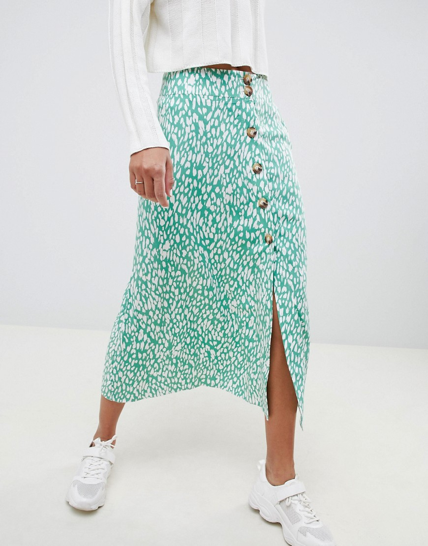 Asos Design Midi Skirt With Button Front In Green Leopard Print Two Piece by Asos Design