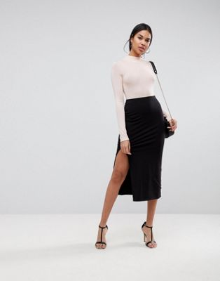 ASOS DESIGN midi skirt with front split