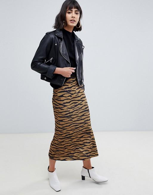 ASOS DESIGN midi skirt with kickflare in tiger print