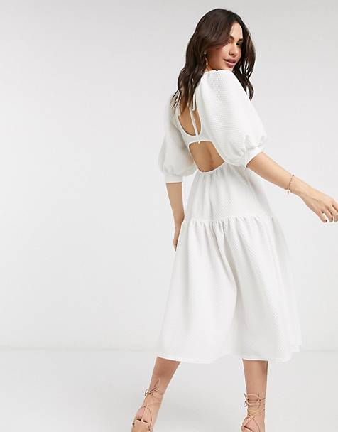 ASOS DESIGN midi smock dress with tie back detail in ivory