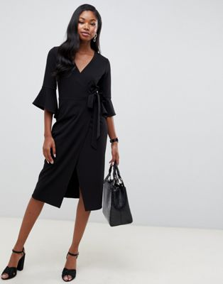 ASOS DESIGN midi wrap dress with flutter sleeve