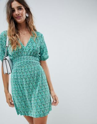 ASOS DESIGN mini ditsy print plisse dress with shirred waist