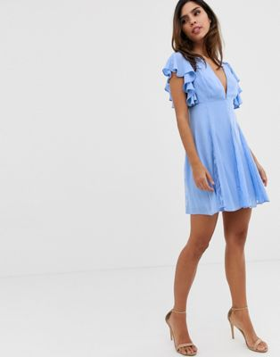 Image 1 of ASOS DESIGN mini dress with lace godet panels